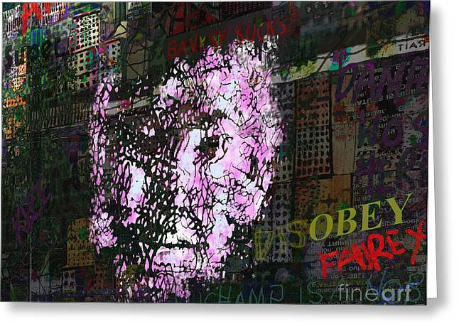 Stencil Portrait Greeting Cards - DisObey  Greeting Card by Andy  Mercer