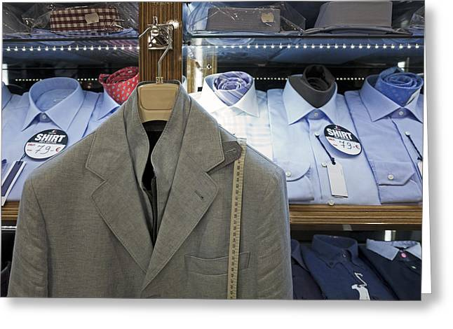 Tallinn Greeting Cards - Display Of Mens Shirts And A Jacket Greeting Card by Jaak Nilson