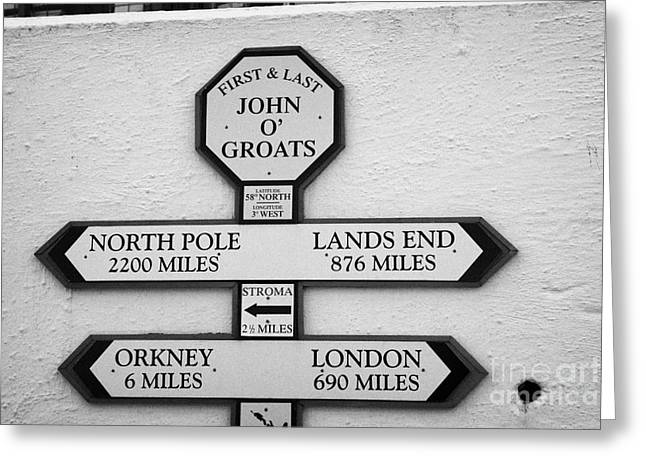 Groat Greeting Cards - distance signs at the first and last shop John OGroats scotland uk Greeting Card by Joe Fox