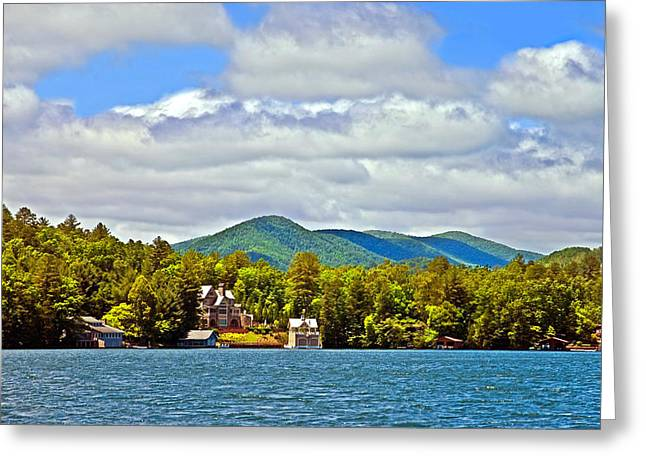 Susan Leggett Greeting Cards - Distant Lake View in Spring Greeting Card by Susan Leggett