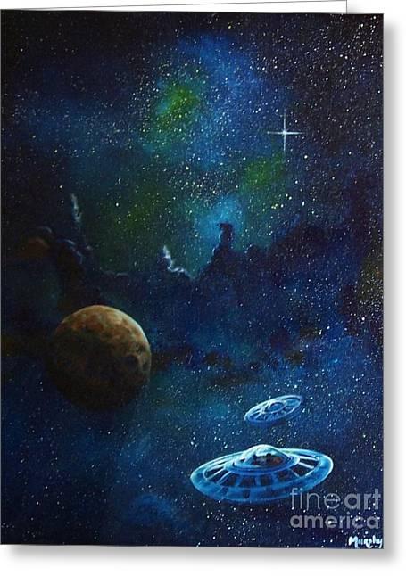 Nebula Paintings Greeting Cards - Distant Nebula Greeting Card by Murphy Elliott