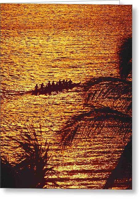 Canoe Greeting Cards - Distant View Of Outrigger Greeting Card by Ron Dahlquist - Printscapes