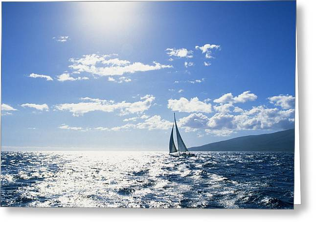 Distant View Of Sailboat Greeting Card by Ron Dahlquist - Printscapes