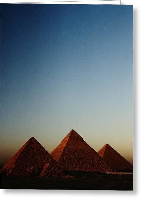 Pyramids Art Greeting Cards - Distant View Of The Pyramids Of Giza Greeting Card by Kenneth Garrett