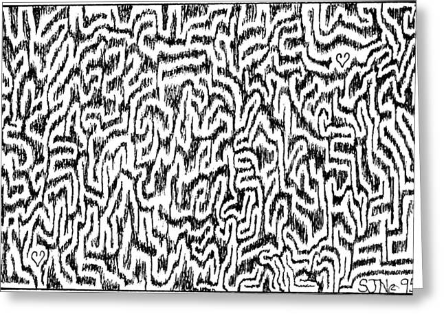 Distortion Drawings Greeting Cards - Distortion Greeting Card by Steven Natanson