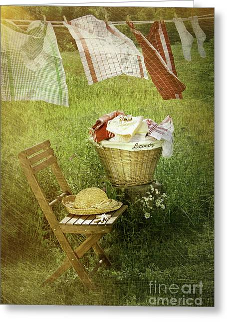 Basket Photographs Greeting Cards - Distressed photo of wash day  Greeting Card by Sandra Cunningham