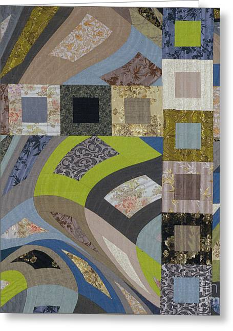Abstract Quilt Tapestries - Textiles Greeting Cards - Disturbance 4 Greeting Card by Marilyn Henrion