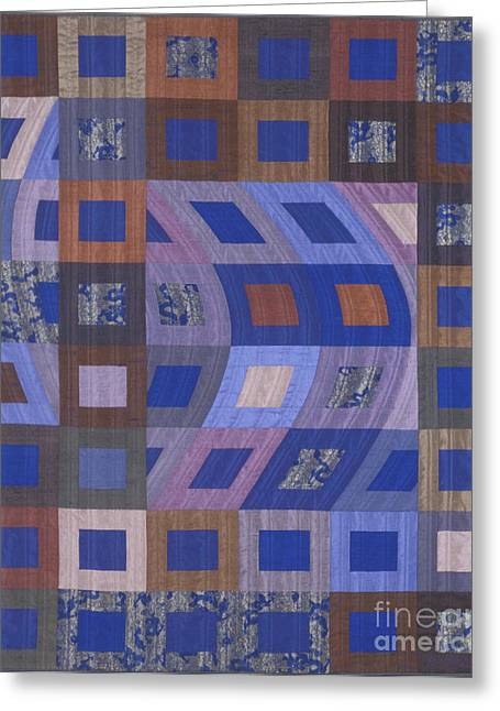 Abstract Quilt Tapestries - Textiles Greeting Cards - Disturbances 2 Greeting Card by Marilyn Henrion