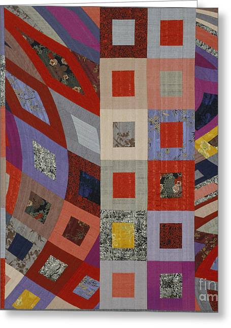 Abstract Quilt Tapestries - Textiles Greeting Cards - Disturbances 3 Greeting Card by Marilyn Henrion