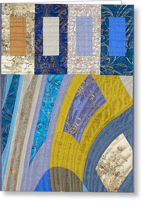 Geometric Tapestries - Textiles Greeting Cards - Disturbances 5 Greeting Card by Marilyn Henrion