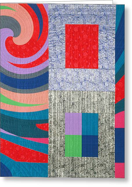 Red Abstracts Tapestries - Textiles Greeting Cards - Disturbances 7 Greeting Card by Marilyn Henrion