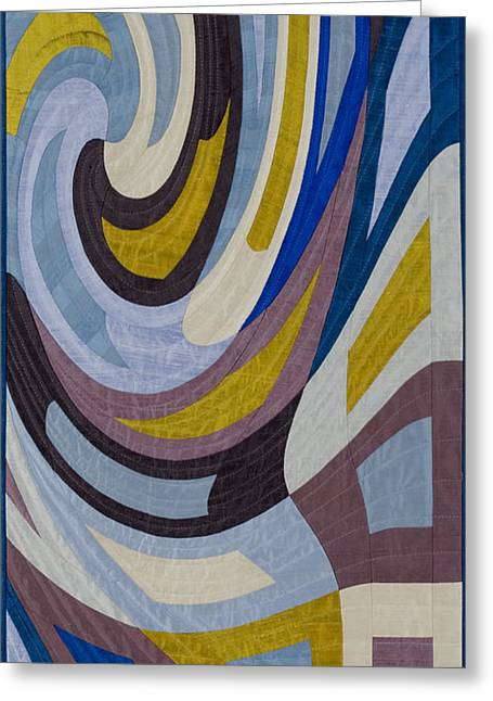 Abstract Quilt Tapestries - Textiles Greeting Cards - Disturbances 9 Greeting Card by Marilyn Henrion