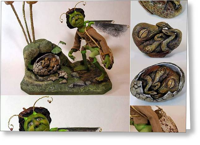 Figurative Sculpture Greeting Cards - Dittles Disturbing Discovery Greeting Card by Linda Apple