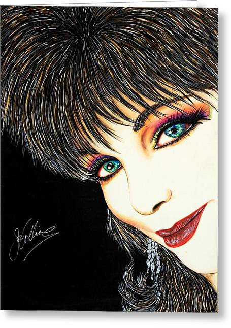 Autographed Mixed Media Greeting Cards - Diva Nasty Greeting Card by Joseph Lawrence Vasile