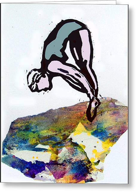 Swimsuit Mixed Media Greeting Cards - Dive - Evening Pool Greeting Card by Adam Kissel