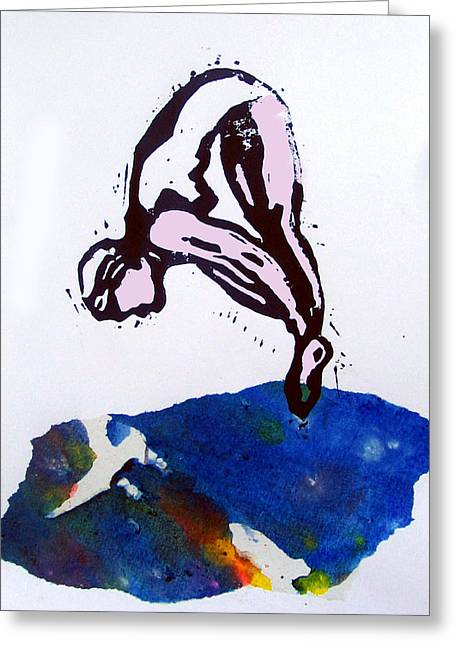 Swimsuit Mixed Media Greeting Cards - Dive - Sunlit Sea Greeting Card by Adam Kissel