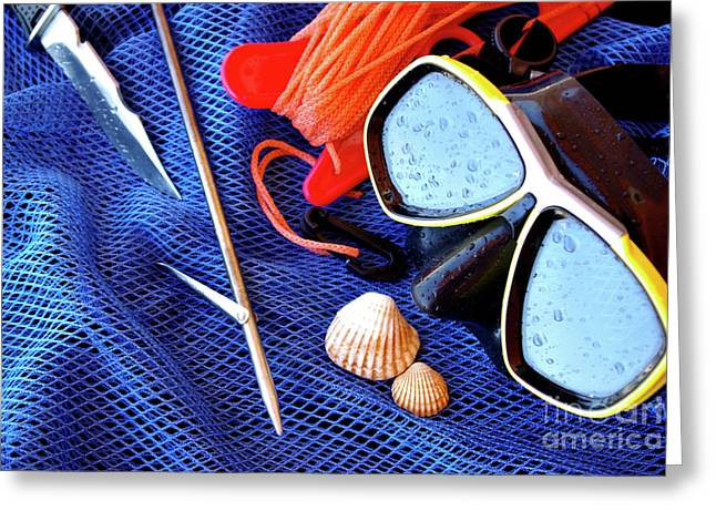 Snorkel Greeting Cards - Dive Gear Greeting Card by Carlos Caetano