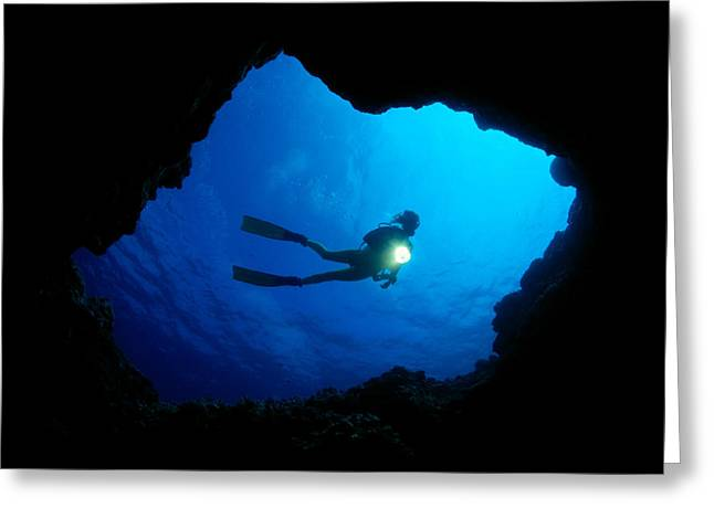 Snorkeling Photos Greeting Cards - Diver At Cavern Entrance Greeting Card by Dave Fleetham - Printscapes