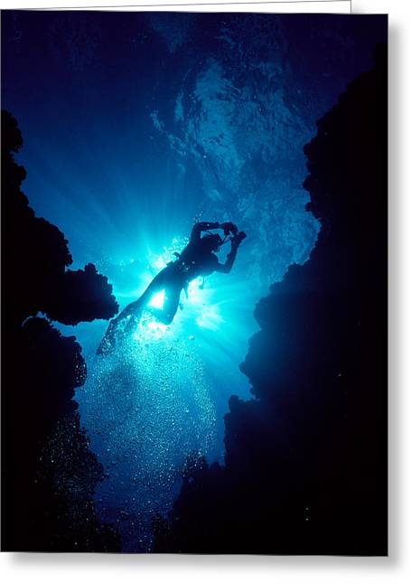 Snorkeling Photos Greeting Cards - Diver In Lava Cave Greeting Card by Ed Robinson - Printscapes