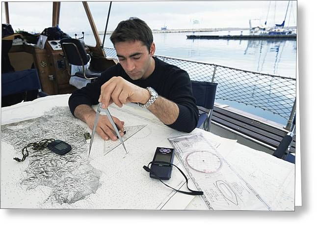 Plotting Greeting Cards - Diver Plotting A Course Greeting Card by Alexis Rosenfeld