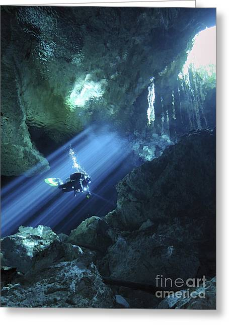 Scuba Divers Greeting Cards - Diver Silhouetted In Sunrays Of Cenote Greeting Card by Karen Doody