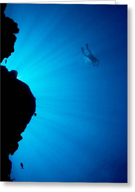 Snorkeling Photos Greeting Cards - Diver, Wall and Sunrays Greeting Card by Dave Fleetham - Printscapes