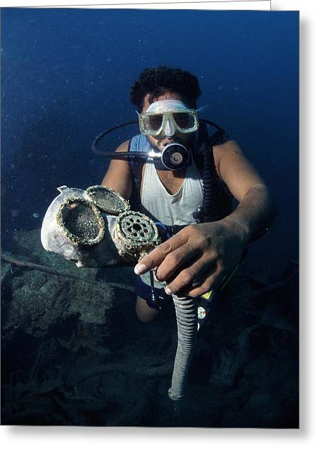 Scuba Diving Greeting Cards - Diver With World War Ii Oxygen Mask Greeting Card by Alexis Rosenfeld