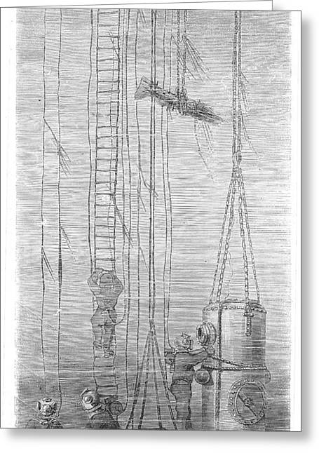 Diving Bell Greeting Cards - Divers, 1870 Greeting Card by Granger