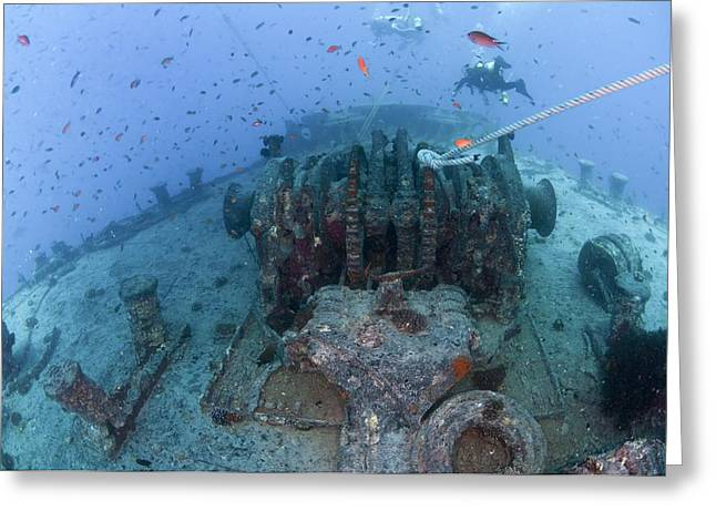 Aquatic Greeting Cards - Divers At A Shipwreck Ras Mohammed Greeting Card by Photostock-israel