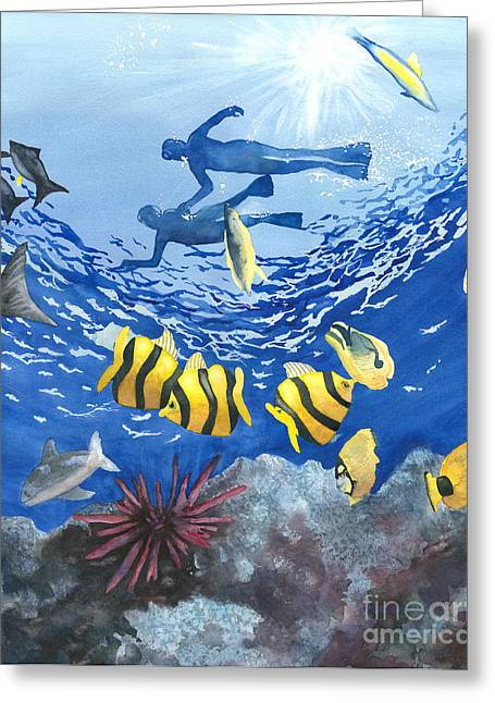 Hawaiin Greeting Cards - Divers Delight Greeting Card by Laura Ramsey