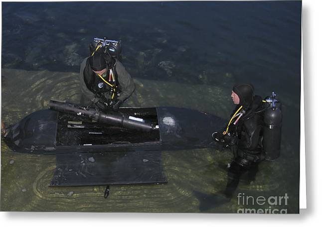 Boat Hardware Greeting Cards - Divers Load Equipment Into Their Seal Greeting Card by Michael Wood