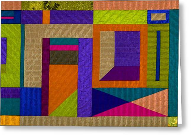 Abstract Quilt Tapestries - Textiles Greeting Cards - Divertimento Greeting Card by Marilyn Henrion