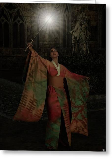 Femal Portrait Greeting Cards - Divine Light Greeting Card by Maynard Ellis
