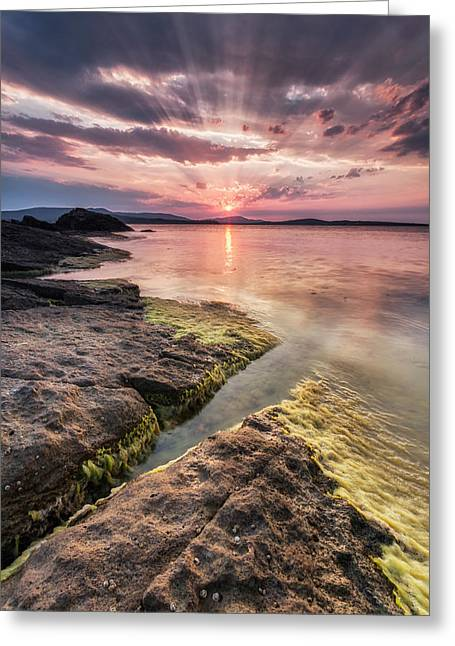 Black Sea Greeting Cards - Divine Sunset Greeting Card by Evgeni Dinev