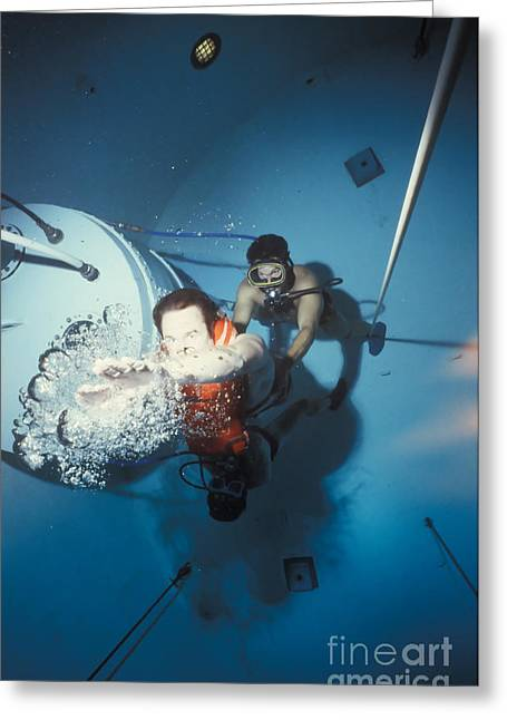 Diving Bell Greeting Cards - Diving Bell Instructor Releases Control Greeting Card by Michael Wood