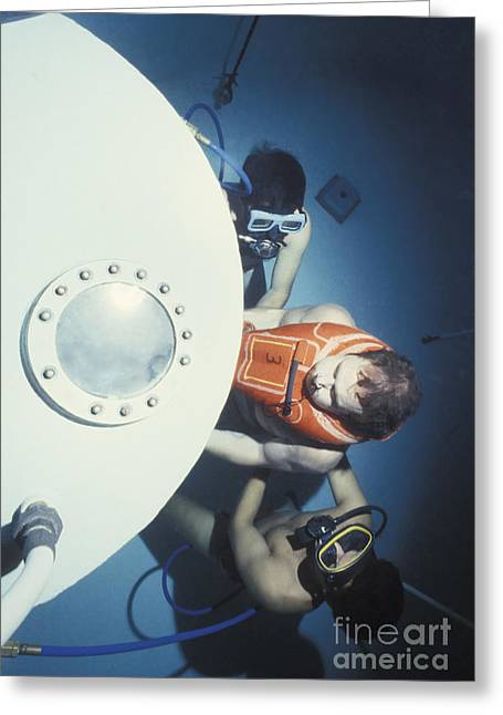 Diving Bell Greeting Cards - Diving Bell Instructors Hold Greeting Card by Michael Wood