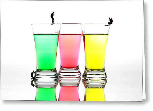 Green And Yellow Glass Art Greeting Cards - Diving in colorful water Greeting Card by Paul Ge