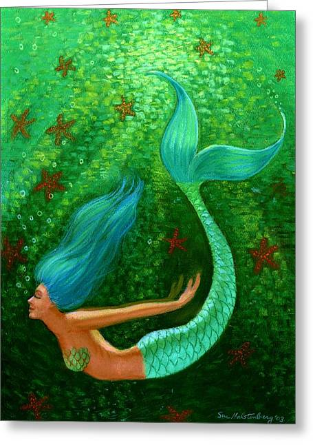 Green Blue Greeting Cards - Diving Mermaid Fantasy Art Greeting Card by Sue Halstenberg