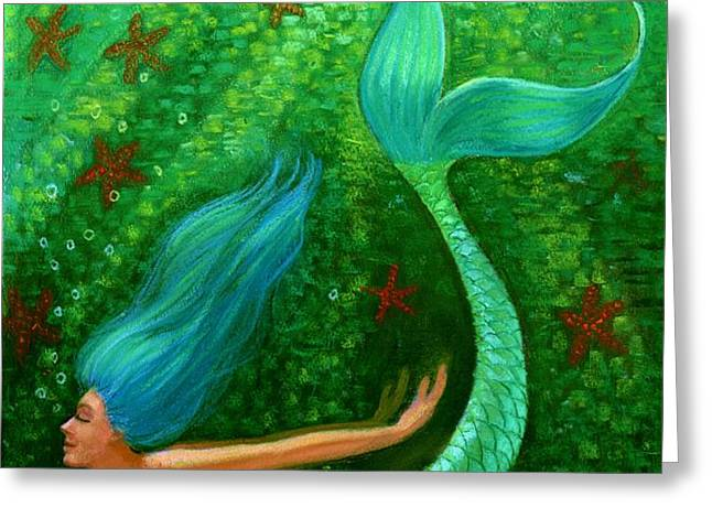 Diving Mermaid Fantasy Art Greeting Card by Sue Halstenberg