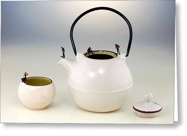 Sureal Greeting Cards - Diving on tea pot and cup Greeting Card by Paul Ge