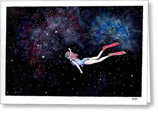 Diving Through Nebulae Greeting Card by Katchakul Kaewkate
