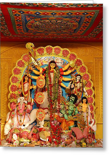 Durga Puja Greeting Cards - Divinity No.8926 Greeting Card by Fotosas Photography