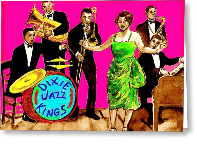 Improvisation Drawings Greeting Cards - Dixie Jazz Kings Pink Greeting Card by Mel Thompson