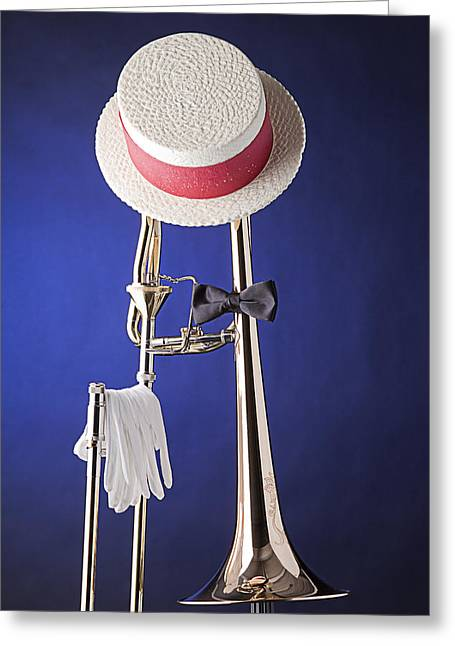 Slide Prints Greeting Cards - Dixieland Hat and Trombone Greeting Card by M K  Miller