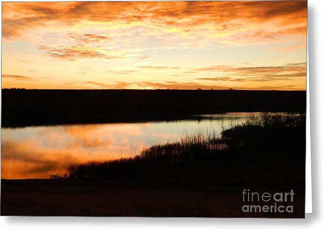 Dixon Reservoir Sunrise Greeting Card by Sara  Mayer