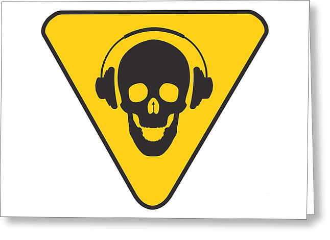 Skull Digital Art Greeting Cards - DJ Skull on hazard triangle Greeting Card by Pixel Chimp