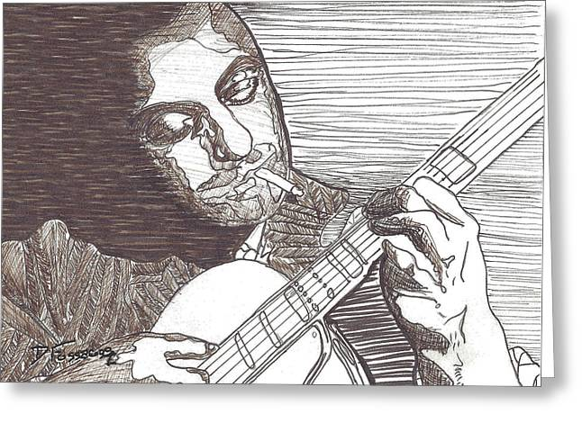Stratocaster Drawings Greeting Cards - Django Greeting Card by David Fossaceca
