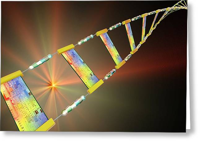 Electronics Industry Greeting Cards - Dna Circuitry Strand, Conceptual Artwork Greeting Card by Pasieka