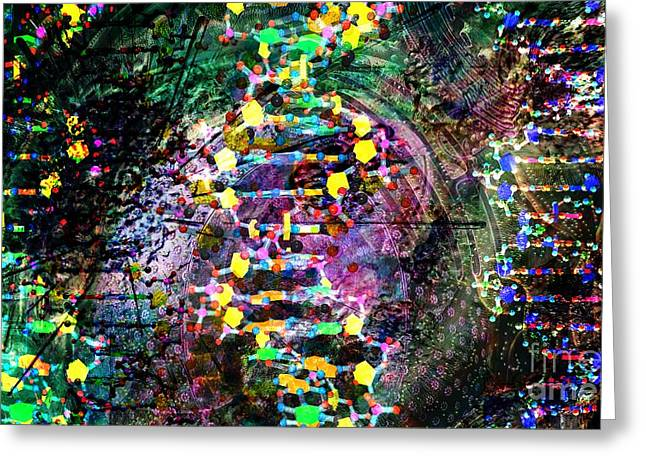 Biological Digital Art Greeting Cards - DNA Dreaming 7 Greeting Card by Russell Kightley