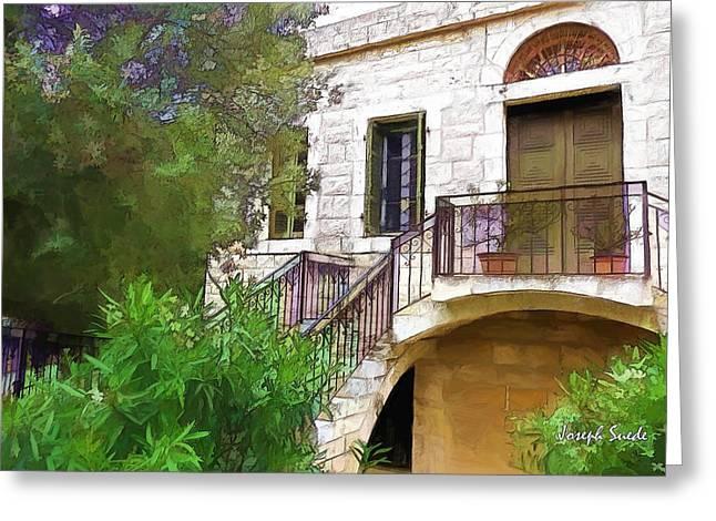 Old House Photographs Digital Art Greeting Cards - DO-00490 Balcony of Old House Greeting Card by Digital Oil